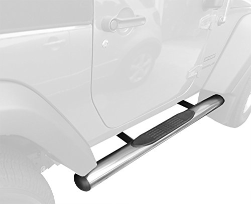 "TYGER Custom Fit 2007-2015 Jeep Wrangler 2 Door 4"" Oval Side Armor Step Nerf Bars Stainless Steel Running Boards"