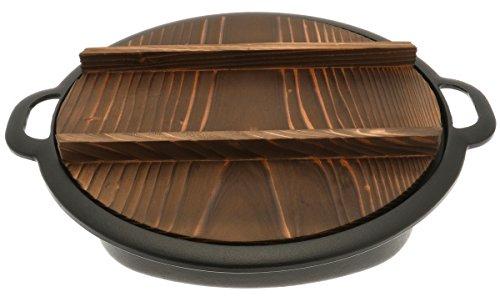Iwachu 410-694 Cast Iron Gyoza Pan with Wooden Lid, Large, Black by Iwachu