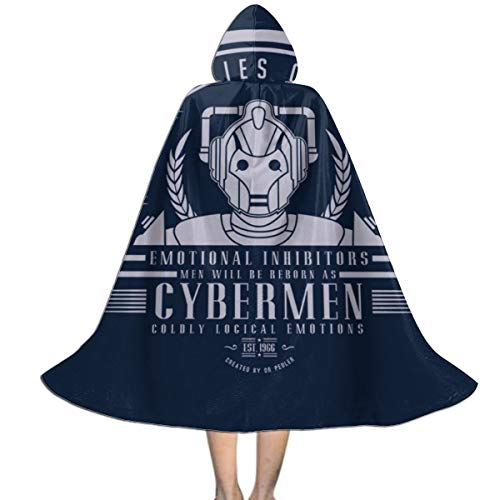 Cyberman Costume For Kids (QINWEILU Doctor Who Cyberman Unisex Kids Hooded Cloak Cape Halloween Party Decoration Role Cosplay Costumes Outwear)