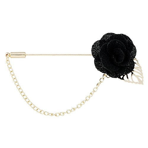 Price comparison product image Winter's Secret Black Camellia Flower Corsage Simple Hollow Alloy Leaf Tassel Men's Suits Pin Brooch