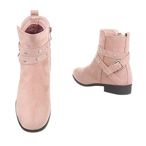 Ital-Design Klassische Stiefeletten Damenschuhe Klassische Stiefeletten Blockabsatz Blockabsatz Reißverschluss Stiefeletten Pink NC91