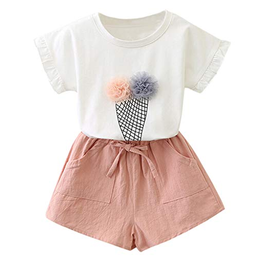 - Little Girl Summer Sets,Jchen Baby Kids Little Girl Short Sleeve Flower T-Shirt+Bowknot Shorts Casual Outfits for 2-7 Yrs (Age:5-6 Years, Pink)