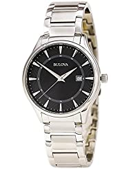 Bulova 96B184 Mens Stainless Steel Black Quartz Watch