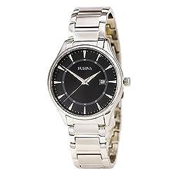 Bulova 96B184 Men's Stainless Steel Black Quartz Watch
