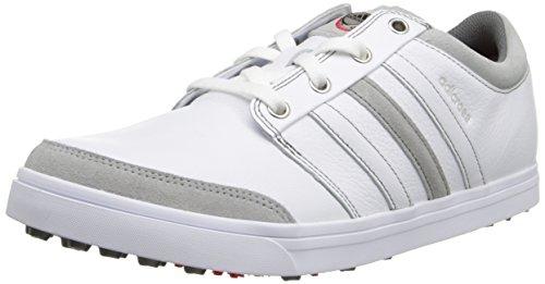 adidas Men's Adicross Gripmore Golf Shoe,Running White/Running White/Light Scarlet ,12.5 M US