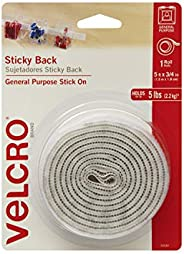 VELCRO Brand 5 Ft x 3/4 In | White Tape Roll with Adhesive | Cut Strips to Length | Sticky Back Hook and Loop