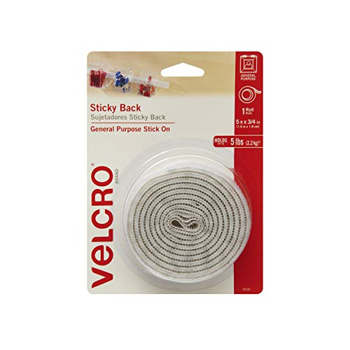 VELCRO Brand - Sticky Back Hook and Loop Fasteners| Perfect for Home or Office |  5ft x 3/4in Roll | White
