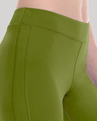 SYROKAN - Pantalones Largos Leggins Deportivos Running Para Mujer Verde oliva