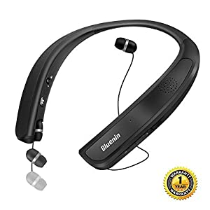 Bluetooth Headphones Speaker 2 in 1,Bluenin Neckband Wireless Headset Wearable Speaker True 3D Stereo Sound Sweatproof Headphones with Retractable Earbuds Built-in Microphone (Titanium Black)