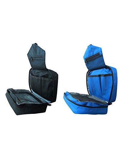 Go Beyond Makeup Cometic Travel Organizing Bag   Foldable Waterproof Toiletry Handbag with multiple pouches and Hanging Handle   Best for Outdoor Traveling Trip Indoor ( Black + Blue )