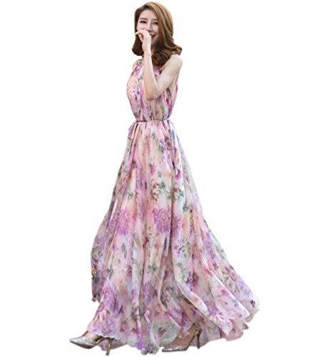 MedeShe Women's Chiffon Floral Holiday Beach Bridesmaid Maxi Dress Sundress (Large, Country Floral)