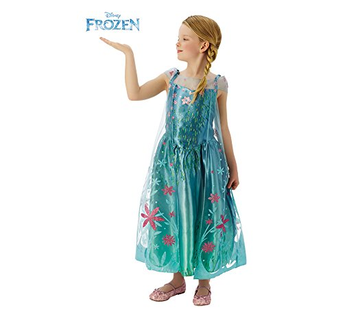 Disney Princess Costume - Elsa Fever Deluxe, for Girls, Turquoise (Rubie's 610907) Deluxe L turquoise