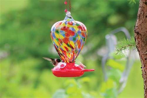 PineBush Art Glass Hummingbird Feeder Colour Balloon
