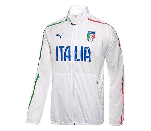 PUMA Men's FIGC Italia Walk-Out Jacket, White, (Italy Woven Jacket)