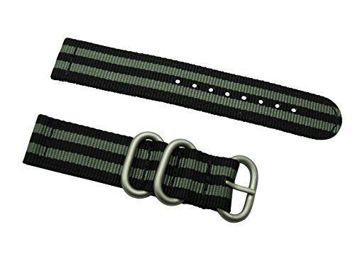 HNS ZULUPATH 2 Pieces 22mm James Bond 007 Black & Grey Ballistic Nylon Watch Strap 3 Matt SS Ring ZU047