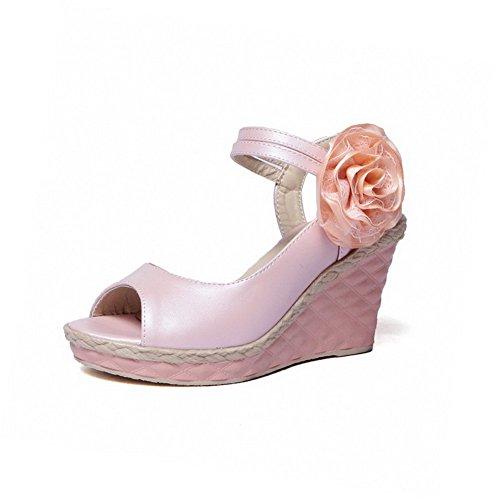 AllhqFashion Mujeres Velcro Puntera Abierta Plataforma Cuero Sólido Sandalia Rosa