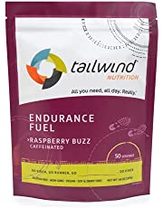 Tailwind Nutrition Endurance Fuel, Caffeine Drink Mix with Electrolytes, Non-GMO, Free of Soy, Dairy, and Gluten, Vegan Friendly, Raspberry Buzz, 50 Servings