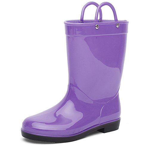 Price comparison product image CIOR Toddlers Rain Boots Durable Kids Waterproof Shoes with Handles Easy On for Girls and Boys,Purple,24