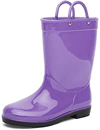Boys & Girls Rain Boots Durable Kids Waterproof Shoes Assorted Colors with Handles Easy On (Toddler/Little Kids)