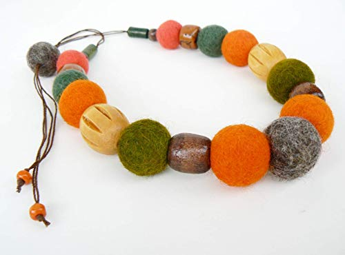 Bold felted beads necklace Ecofriendly wool and wood Adjustable felt balls necklace
