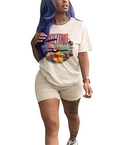 NRTHYE Women Casual 2 Piece Outfits Rompers Short Sleeve Round Neck Cartoon Printed T-Shirts and Bodycon Short Pants -