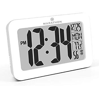 6.3 Black hitoseller HT1801 hito 6.3 Large Digital Battery Atomic Alarm Clock Desk Wall Clock Self Setting Dual Alarm Auto Night Light 6 Timezones Date Day Indoor Temperature Humidity Adjustable Brightness