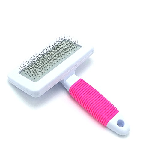 Niubow Professional Quality Pet Slicker Brush with Coated Pin Tips for Dogs & Cats - Gently Removes Mats & Loose Dead Hair Easily (Small, Pink)
