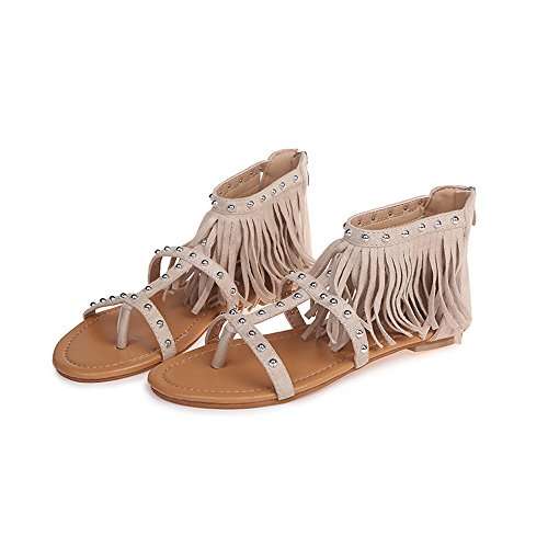 Sandals Black Simple Shoes Beige Summer Brown Lightweight Rome Beige Nail Small Breathable Ladies Girl Solid Tassel Women Feminine Flat Soft Charm Ring Fresh Massage Heel Rivet Tassels qwBtZ