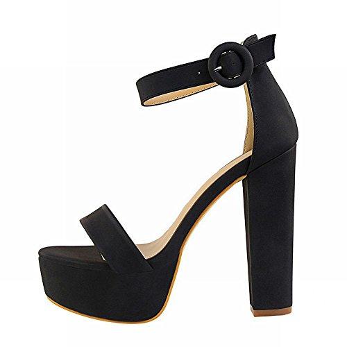 Carolbar Women's Solid Color Sexy Platform High Heel Evening Sandals Black BhXMgSrgq1