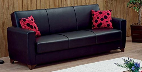 Empire Furniture USA Harlem Collection Modern Convertible Folding Sofa Bed with Storage Space Includes 2 Pillows, Black