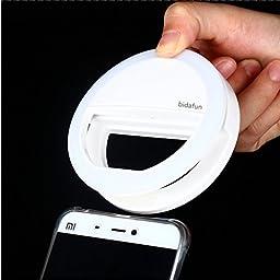 Bidafun Clip on Selfie Ring Light with 36 Led Bulbs For Smart Phone Camera Round Shape White
