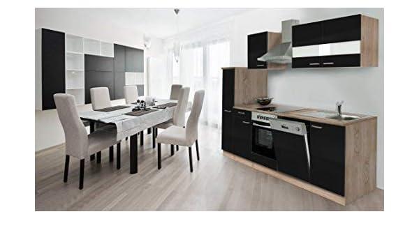 respekta Cocina Coin Cocina Cocina encastrable integrada 250 cm de Roble sciage Negro, cerámica: Amazon.es: Hogar