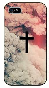 iPhone 5 / 5s Jesus Christ cross in clouds, black plastic case / Inspirational and motivational life quotes / SURELOCK AUTHENTIC