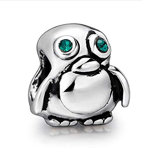 EVESCITY Adorable Baby Penguin Silver Emerald Green Swarovski Beads for Charm Bracelets for Charm Bracelets ♥ Best Jewelry Gifts for Animal Lovers ♥