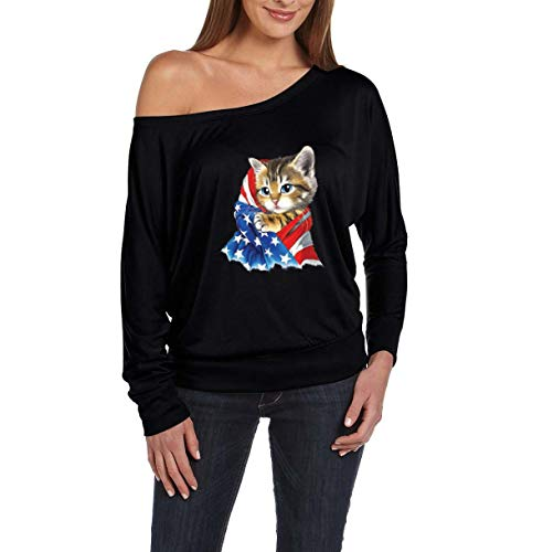 Mom`s Favorite 4th of July Flags Cute Kitty with American Flag Women's Flowy Long Sleeve Off Shoulder Tee (SB) -