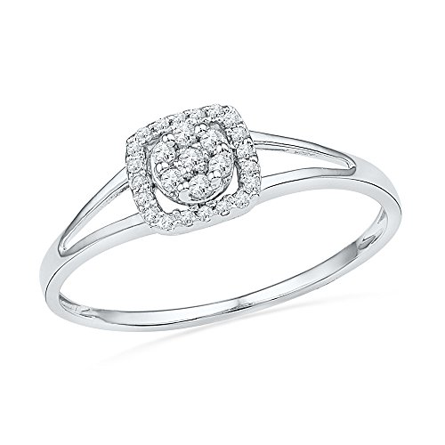 Square Diamond Right Hand Ring Solid 10k White Gold Cocktail Band Round Cluster Style Polished 1/10 ctw by GemApex