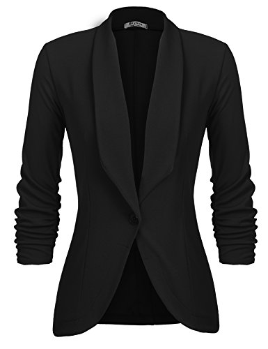 Beyove Women's Solid Stretch 3/4 Gathered Sleeve Open Blazer Jacket Black L