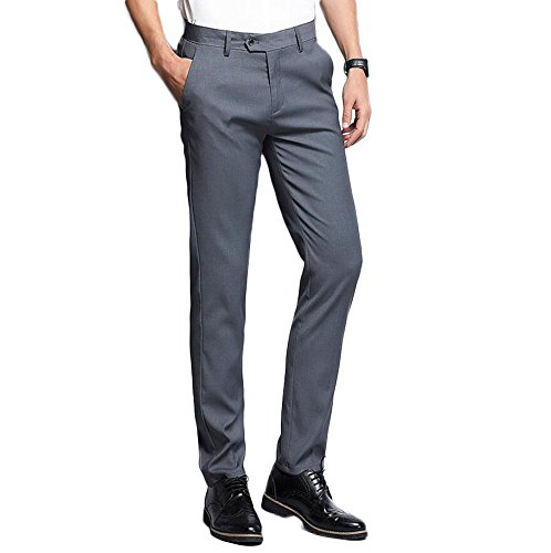 Men's Formal Suit Pants Slim Fit Flat Front Dress Pants Business Separate Pants Grey 33Wx34L by Botong