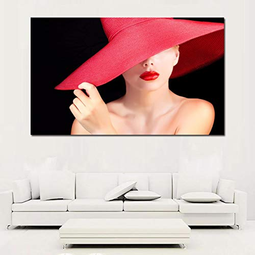qiumeixia1 Wall Art Canvas Paintings Sexy Women in Red Hat Canvas Prints Posters for Living Room,Bedroom Wall Decor Unframed 6090cm