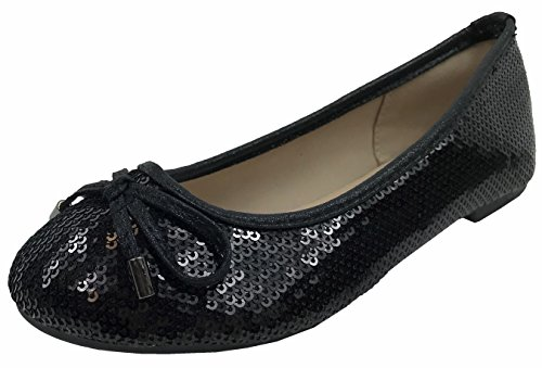 Forever Collection Girls Glitter Coverered Dress Ballet Flats Slip On Karra-51K, Black, 2