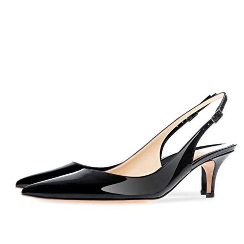 (Onlymaker Women's Pointed Toe Slingback Ankle Strap Kitten Heels Stiletto Pumps-black-10 )