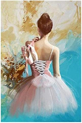 Pintar por números Pintar bailarina de ballet Diy Cuadro en lienzo Pintado a mano Pintura al óleo Música Chica Decoración del hogar40x50cm 40x50cm SIN marco