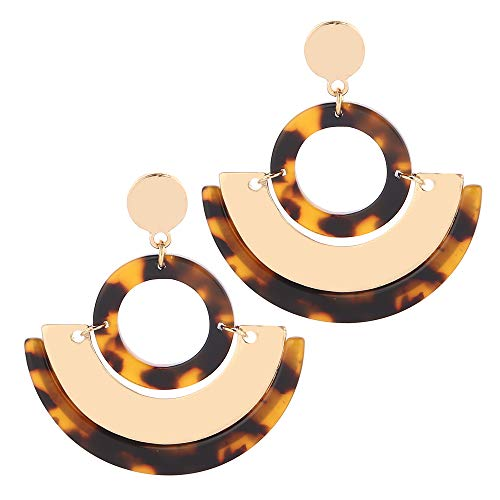 Eran Fashions Acrylic Earrings Women's Cellulose Acetate Earrings Half Round Geometric Resin Earrings (Tortoise) -