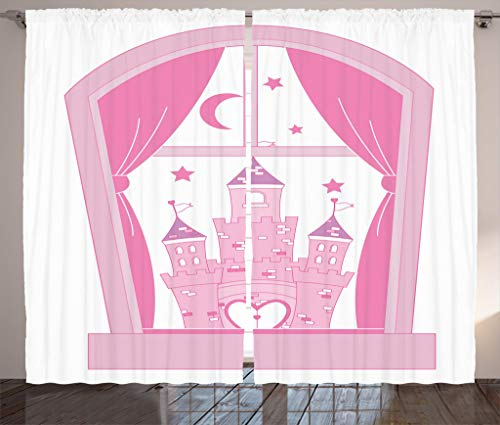 Ambesonne Teen Girls Decor Collection, Princess Castle Night Sky Stars Moon Palace Royalty Love Window Cartoon Design, Living Room Bedroom Curtain 2 Panels Set, 108 X 84 Inches, Pink and White