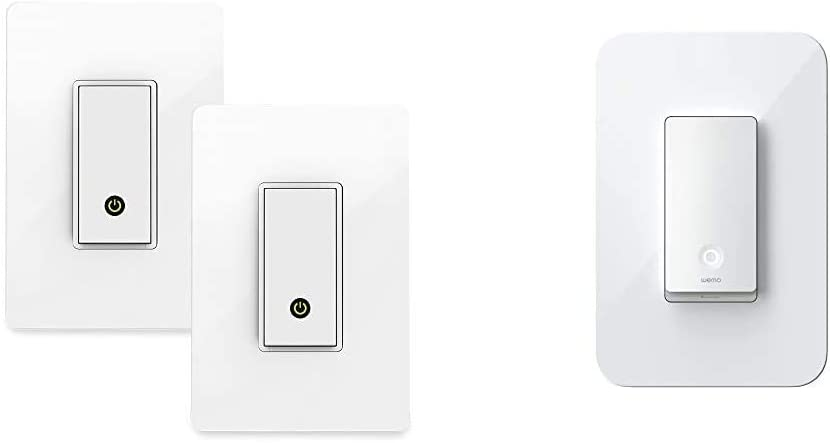 Wemo (F7C030-BDL) Smart WiFi Light Switch 2-Pack Bundle, White & Wi-Fi Light Switch, 3-Way - Control Lighting from Anywhere, Easy in-Wall Installation