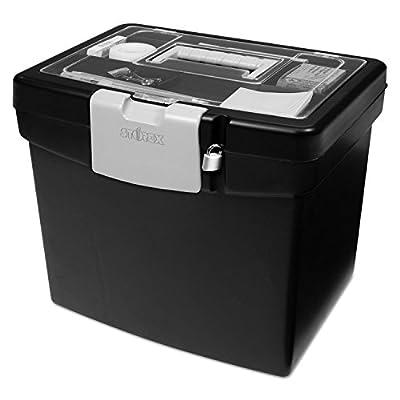Storex 61504U01C Portable File Box with Large Organizer Lid, 13 1/4 x 10 7/8 x 11, Black