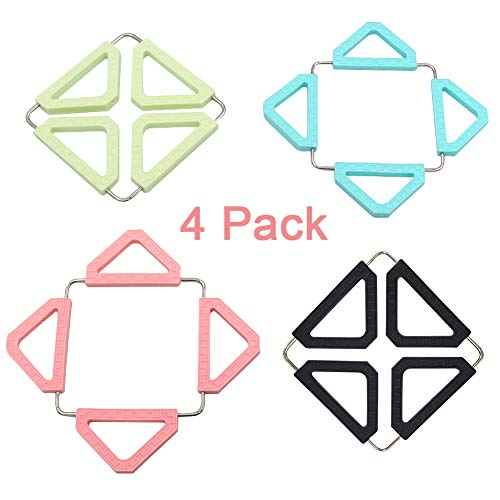Coideal 4 Pack Silicone & Stainless Steel Trivet Mat for Home Kitchen Heat Resistant, Decorative Colored Hot Pot Holder Expandable Square-Shaped Trivets for Table Pad Bowl Plate and Coasters (Plates Shaped Triangle)