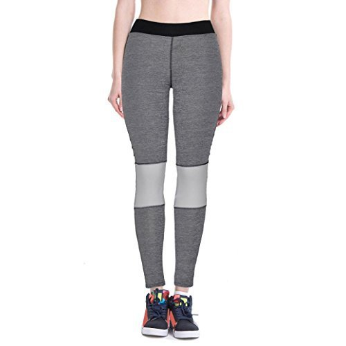 Lookatool Women High Waist Fitness Yoga Sport Pants Nine Points Leggings (XL, Gray)