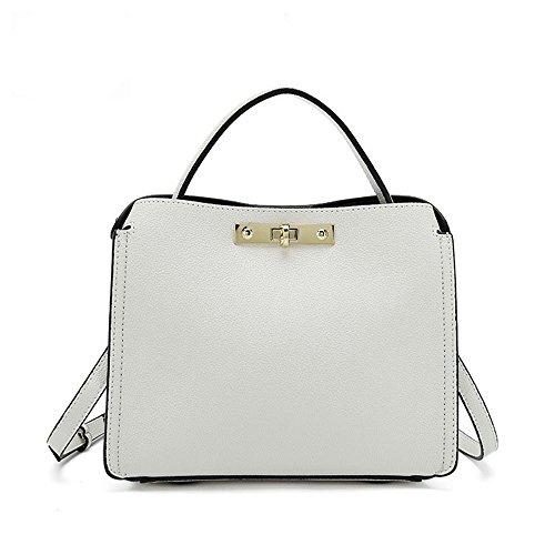 Black White Bag Lock Sunbobo color Shoulder Square Simple Leather Pattern Messenger Litchi Retro Px8Bx7f