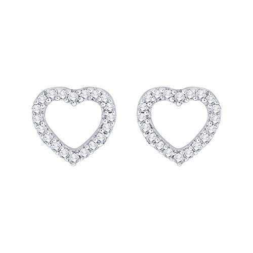 Heart Diamond Gold Circle Earrings (Diamond Heart Stud Earrings in 14K Rose Gold (1/3 cttw) (GH-Color, I2/I3 Clarity))